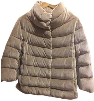 Herno Beige Velvet Coat for Women