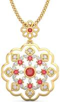 PEACOCK JEWELS 18K Yellow Gold (HallMarked) 0.2cttw Round-Cut-Diamond ( | SI) and Ruby Pendant