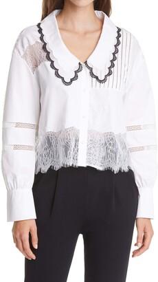 Self-Portrait Lace Detail Cotton Button-Up Shirt