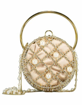 Rosantica Ines Pearl and Crystal Drum Clutch
