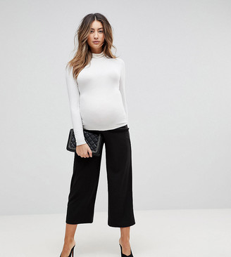 ASOS DESIGN Maternity under the bump cropped black wide leg pants in jersey crepe