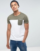 French Connection Cut and Sew Top Panel T-Shirt with Pocket