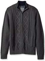 Nautica Men's Long Sleeve V-Neck Cable Sweater