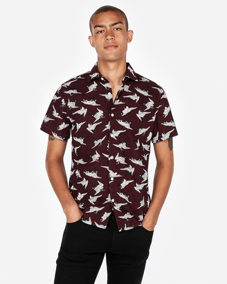Express Slim Bird Print Short Sleeve Shirt