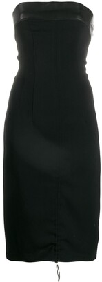 John Richmond Strapless Fitted Midi Dress