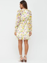 Very Shirred Waist Ladder Trim Tea Dress - Print