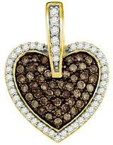 DazzlingRock Collection 0.54 Carat (ctw) 10k Yellow Gold Round White & Diamond Ladies Heart Pendant