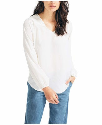 Nautica Women's Long Sleeve V-Neck Woven Shirt