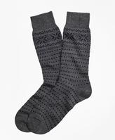 Brooks Brothers Merino Wool Snowflake Fair Isle Crew Socks
