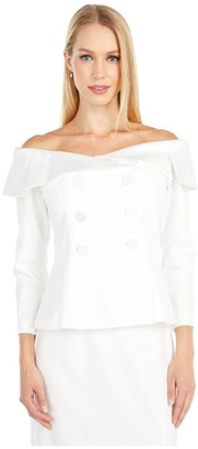 Adrianna Papell Charmeuse Crepe Tuxedo Top (Ivory) Women's Blouse