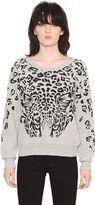 Saint Laurent Feline Print Stretch Cotton Sweatshirt