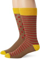English Laundry Men's 2 Pack Fine Stripe and Dot Crew Socks