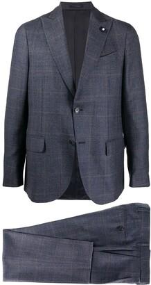 Lardini Checked Single Breasted Suit