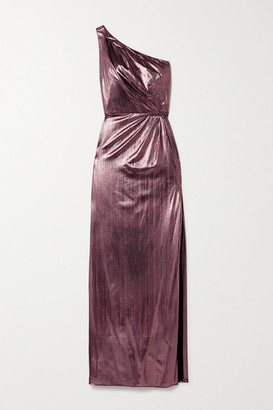 Marchesa One-shoulder Metallic Lame Gown - Pink