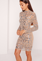 Missguided Premium High Neck Sequin Embellished Bodycon Dress Silver