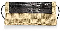 Nancy Gonzalez Women's Large Gotham Crocodile-Trimmed Raffia Clutch