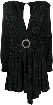 Philipp Plein belted long-sleeve mini dress