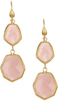 Rivka Friedman Double Deco Shape Faceted Rose Quartz Hook Earrings