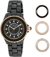 Akribos XXIV Women's AK500BKR Ceramic Interchangeable Bezel Bracelet Watch