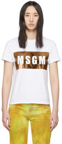 MSGM White and Gold Logo T-Shirt