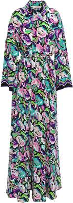 Emilio Pucci Belted Printed Silk Crepe De Chine Maxi Shirt Dress