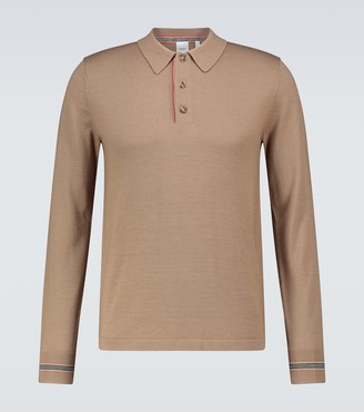 Burberry Long-sleeved merino wool polo shirt