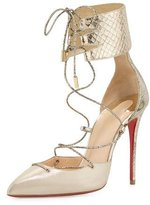 Christian Louboutin Corsankle Lace-Up 100mm Red Sole Pump, Gold