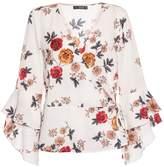 Quiz Cream Floral Print Wrap Top