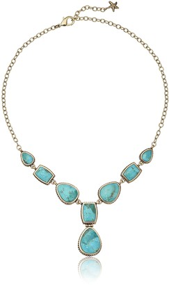 Barse Bronze and Genuine Turuqoise Y-Shaped Necklace