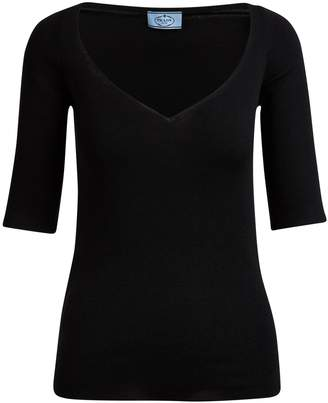 Prada Short-sleeved V-neck jumper