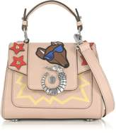 Trussardi Lovy Joy Natural Leather Mini Crossbody Bag w/Emoticon Embroidery