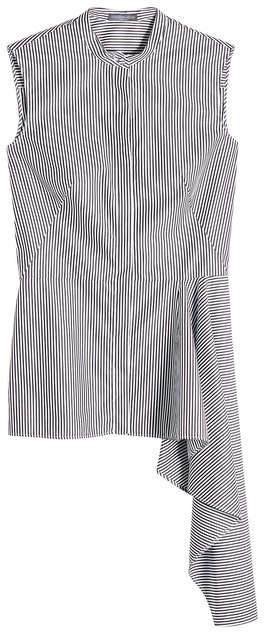 Alexander McQueen Striped Cotton Sleeveless Shirt with Draped Hem