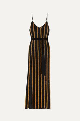 retrofete Rebecca Velvet-trimmed Striped Sequined Chiffon Maxi Dress - Black