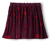 Classic Little Girls Gathered Pattern Cord Skirt-Burgundy Large Floral
