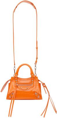 Balenciaga Orange Croc Mini Neo Classic Top Handle Bag