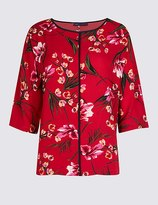 Marks and Spencer Floral Print Kimono 3/4 Sleeve Blouse