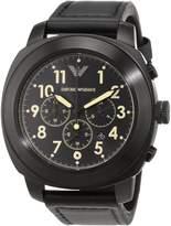 Giorgio Armani AR6061 46mm Stainless Steel Case Black Calfskin Mineral Men's Watch