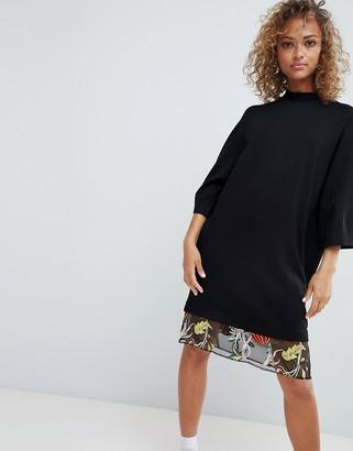 Asos DESIGN embroidered mesh hem t-shirt dress