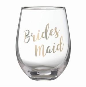 "Lillian Rose Gold ""Bridesmaid"" Stemless Wine Glass"