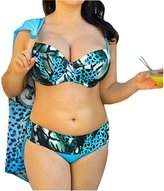 DaiLiWei Womens Plus Size Padded Bra Tops Leopard Print Bikini Sets Swimwear Swimsuit