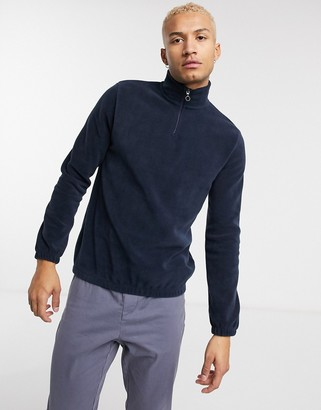 ASOS DESIGN polar fleece sweatshirt with half zip in navy