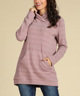 Suzanne Betro Weekend Women's Sweatshirts and Hoodies 101ROSE/WHT - Rose & White Stripe Shawl Collar Tunic - Women & Plus