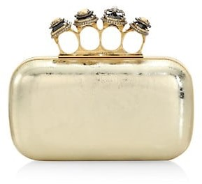 Alexander McQueen Jewelled Spider Leather Knuckle Duster Clutch