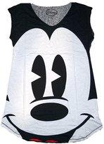 Disney Classic Mickey Mouse BIG FACE Womens Pajama T Shirt Tank Top - Black