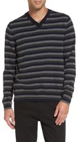 Vince Men's Stripe V-Neck Cashmere Sweater