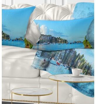East Urban Home Seashore St John Bay Panoramic View Lumbar Pillow