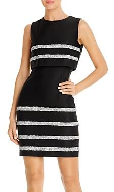 Paule Ka Sequin Stripe Popover Sheath Dress