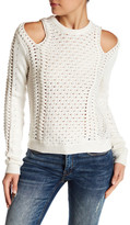 Minnie Rose Cold Shoulder Open-Knit Sweater