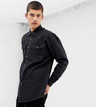 Collusion Tall oversized western denim shirt in washed black