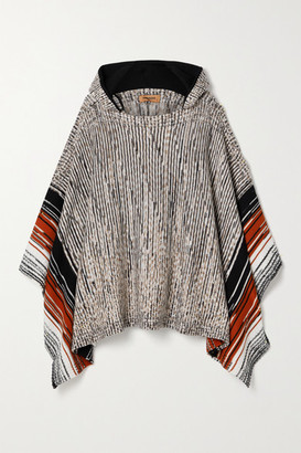 Missoni Hooded Striped Space-dyed Wool Poncho - Gray